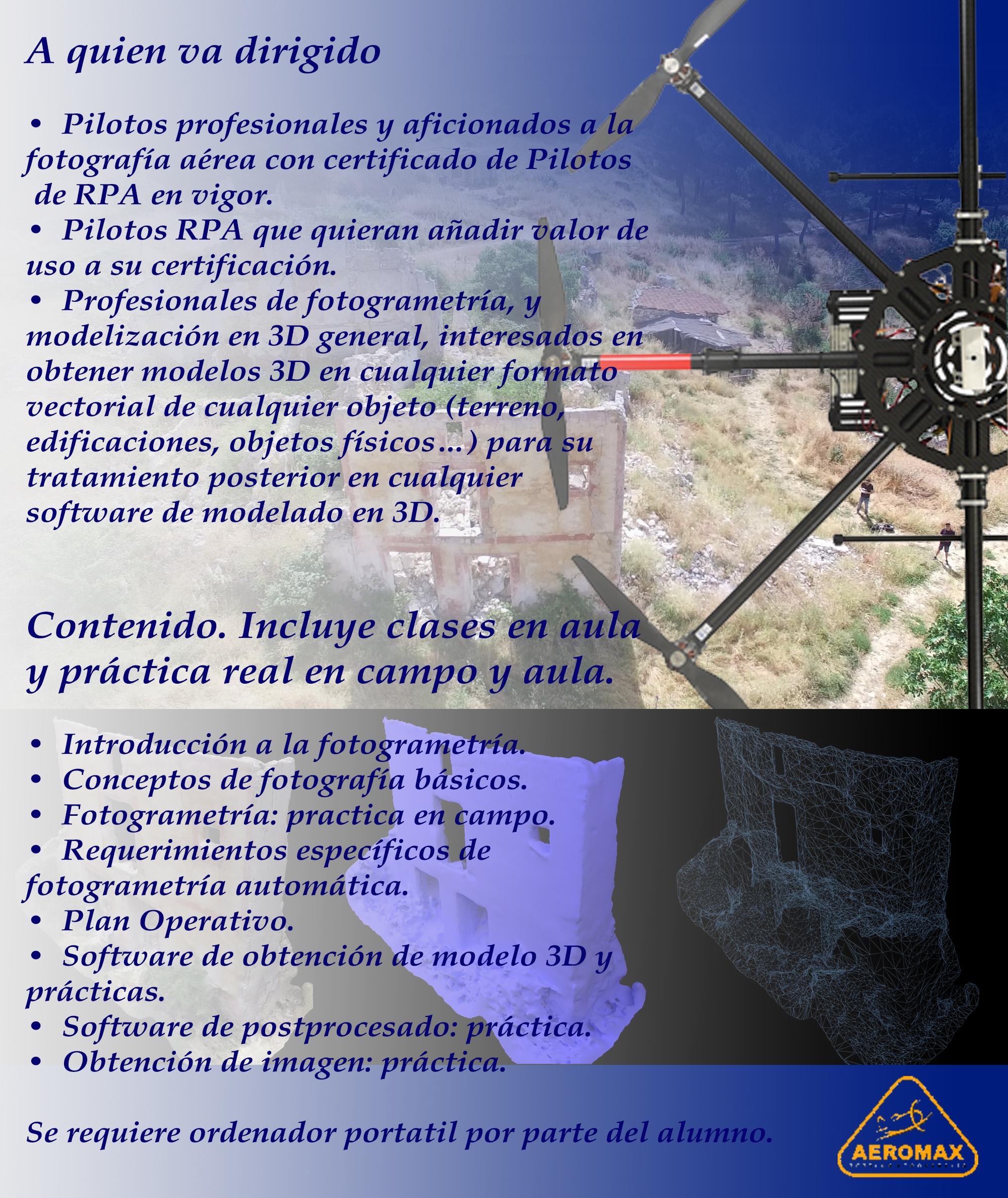 CURSO TEORICO-PRACTICO FOTOGRAMATRIA Y 3D